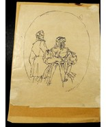 VTG Early Century Russian Romantic Couple Drawing Paper Small Original S... - $84.15