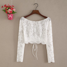 Lace Tops Long Sleeves Off-Shoulder Lace Crop Top White Bridesmaids Shirt US0-30