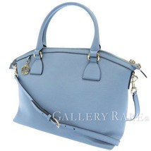 GUCCI Shoulder Bag Leather Light Blue 449651 2Way Tote Bag Italy Authentic - $544.59