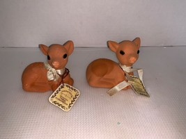 vintage Pair Of terra cotta scented fawn pomanders - $10.00