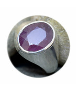 Natural Ruby Silver Ring 7 Carat Bold Stone Jewelry Size K,L,M,N,O,P,Q,R... - $51.50