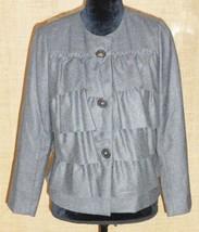 J Crew women 4 wool blazer jacket ruffle career casual gray - $33.66
