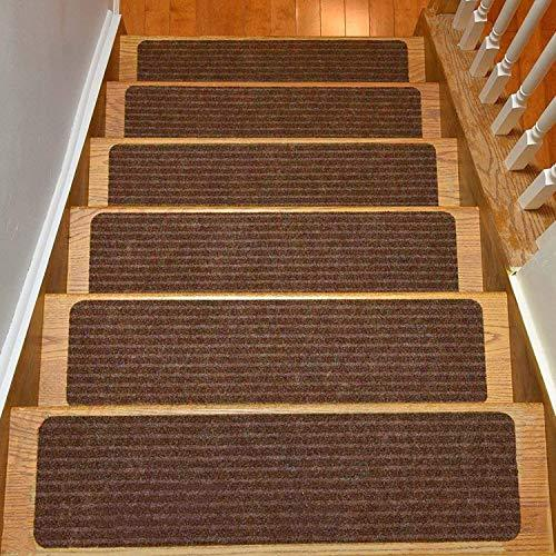 Stair Treads Collection Set of 7 Indoor Skid Slip Resistant Brown Carpet Stair T