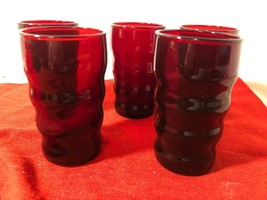 """Lot of 5 Ruby Red Beehive Anchor Hocking ? Juice glasses 3 3/4"""" tall - $14.85"""