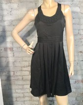 Ann Taylor Loft Dress 2 (S) Black A Line Pleated Tie Back Sleeveless LBD - $30.59