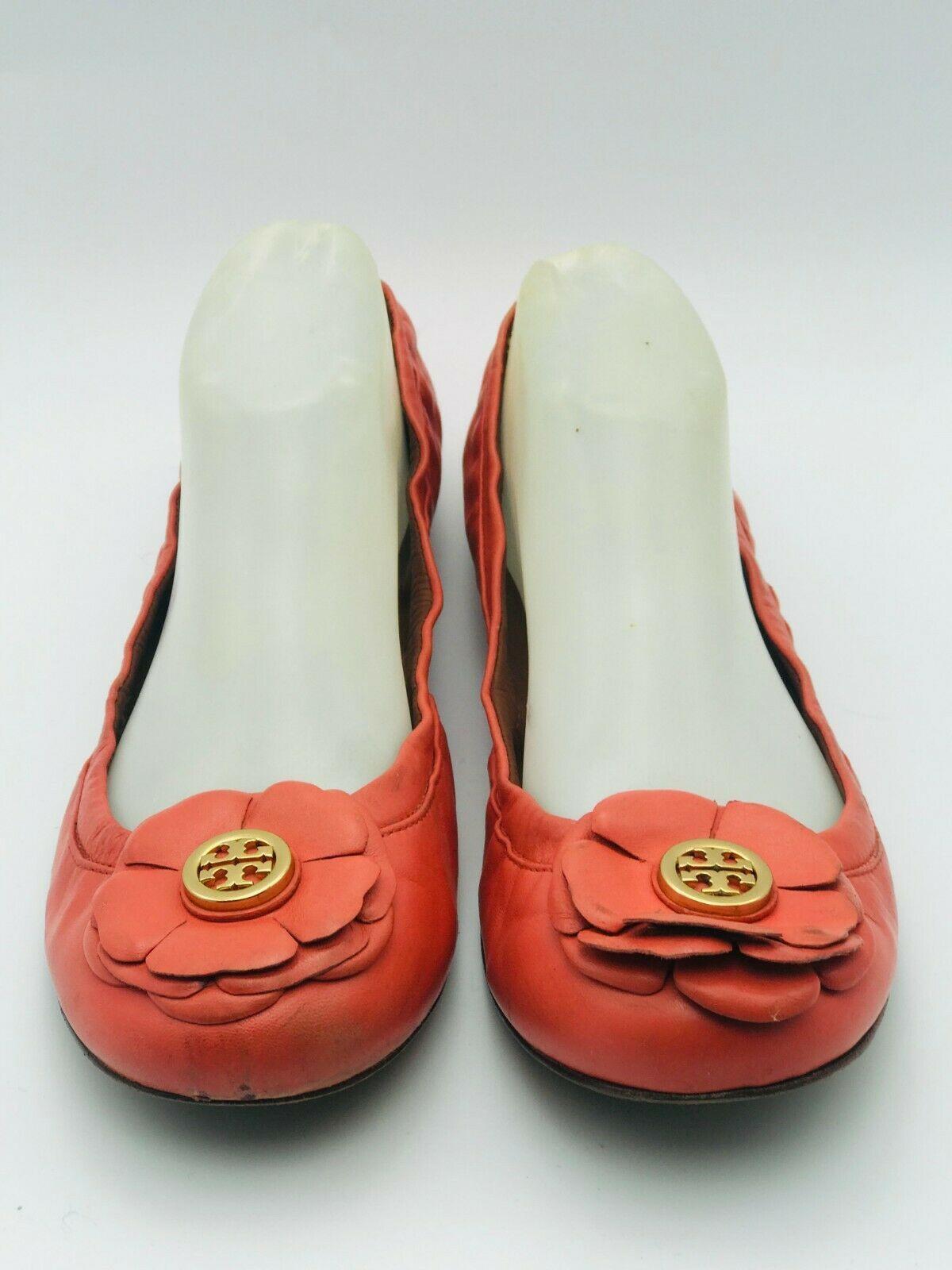 Tory Burch Shelby Peach Logo Ballerina Flat Women's Size 9M