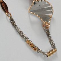 Bracelet White Gold Pink 18K 750, Rhombuses Wavy,Finely Worked, Italy image 7