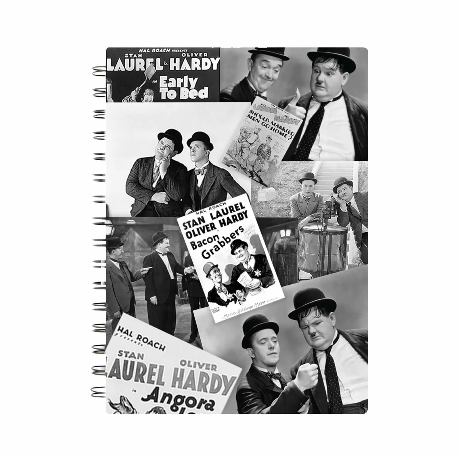 Laurel & Hardy Black & White Montage A5 Notebook