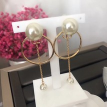 AUTH Christian Dior LIMITED EDITION HOOP DANGLE DROP CD LOGO PEARL EARRINGS