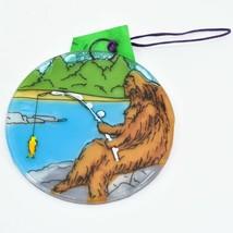 Handmade Fused Art Glass Sasquatch Big Foot Fishing Ornament Sun Catcher Ecuador