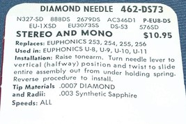 462-DS73 PHONOGRAPH RECORD PLAYER NEEDLE FOR Euphonics 253 254 255 256  U-8  U-9 image 2