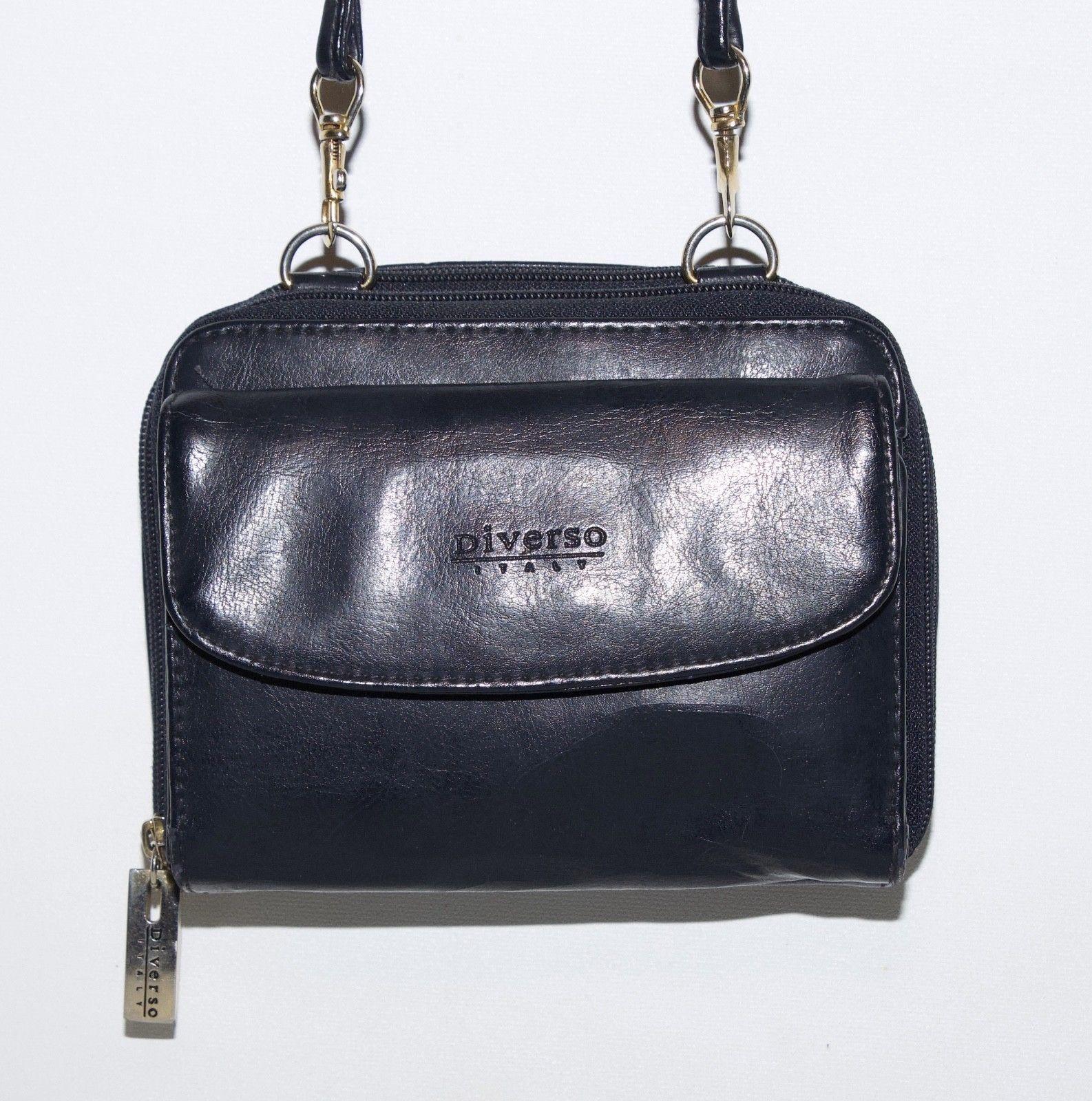 Vintage Diverso Italy Leather Handbag Crossbody Shoulder Purse Wallet Black