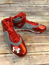 Under Armour Baseball Cleats Spine Clutch Fit 1250042-021 Gray Red Sz 12 - $29.03