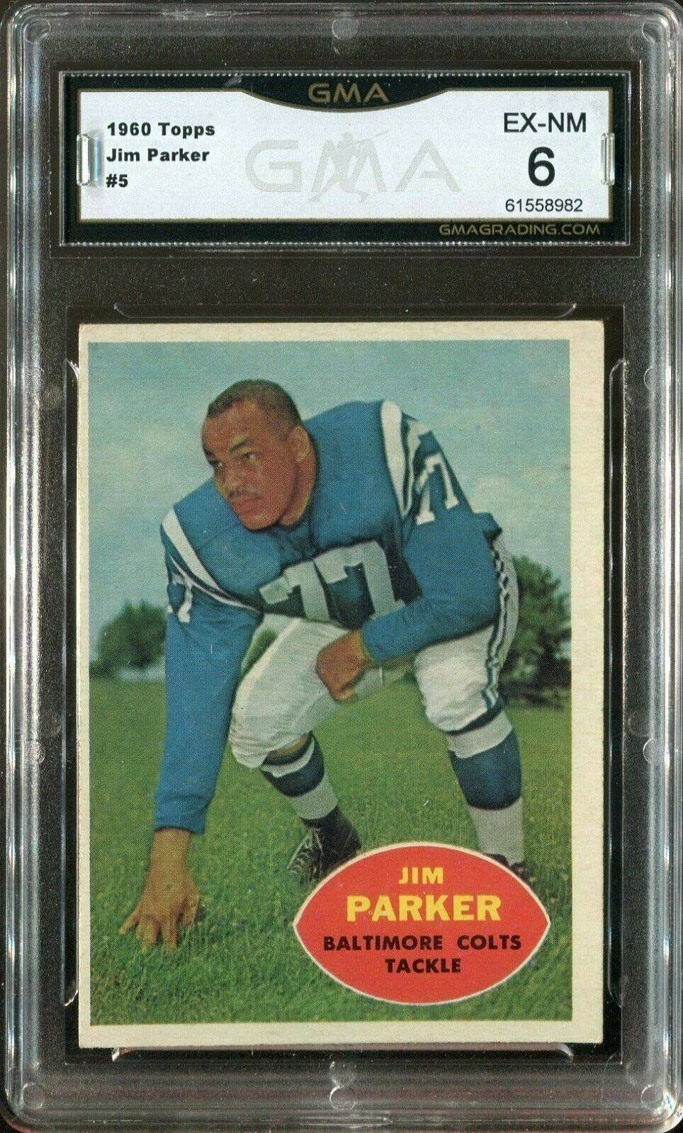 Primary image for 1960 Topps #5 Jim Parker Hall of Fame - Baltimore Colts (GMA Graded EX-NM 6)