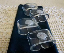 Seashell Napkin Ring Holders Set of 4 Plastic Acrylic Beach themed napki... - $18.81