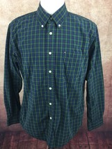 Tommy Hilfiger Heritage Poplin 80's 2 Ply Long Sleeve Shirt Green Check ... - $11.03