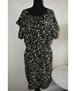 Beautiful Mossimo Abstract Black Tan Boat Neck Line Plus Size Dress XXL 2X - $16.98