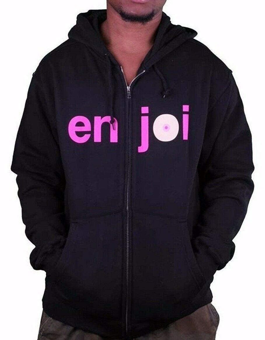 Enjoi Logo Skateboarding Black Pink Boobies Zip Up Hoodie 20417068 NWT