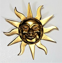 Vintage Alva Museum Replica Metal Gold-tone Smiling Sunburst Pin Brooch ... - $19.35