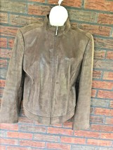 Brown Soft Suede Jacket Size Large Full Zip 100% Leather Front Pockets B... - $34.30