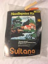 Vtg Sultana Needlepoint Jiffi Stitch Pillow Kit Country Scene 80068 Seal... - $22.76