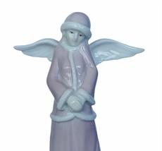 Angel figurine vtg porcelain sculpture Christmas Russ berrie caroler pink coat 2 - $28.98