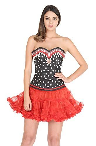 Primary image for Black Satin Polka Dots Sequins Gothic Halloween Corset Costume Bustier Overbust
