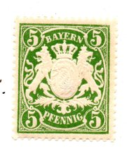 1911 Bavaria Mint 5 Pfennig Stamp - Embossed White on Green Background  - $5.99