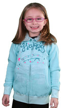 Iron Fist Girls Kids Happy Camper Aqua Hoodie Sweater w Fur Hood IFK0088... - $30.12