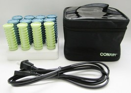 Conair Hot Rollers Compact Travel w/Case Clips Instant Heat Blue Green - $19.79