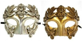 Men Male Greek Roman Warrior Emperor  Silver Masquerade Mask  - $17.95