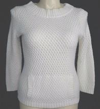 Talbots sweater Medium off white 3/4 sl front pocket chunky knit heavy boat neck - $27.95