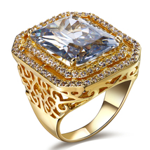 Heavy Cocktail White Diamond Emerald Cut Anniversary Ring Solid 10k Yellow Gold  - $799.99