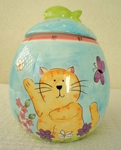 Sally Noll Hausenware Colorful Cartoon Kitty Cat Ceramic Cookie Jar - $10.00