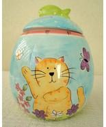 Sally Noll Hausenware Colorful Cartoon Kitty Cat Ceramic Cookie Jar - $18.00