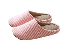 PANDA SUPERSTORE Ultra Light Pink Striped Slippers Womens Indoor Slippers