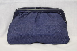 NWT VINTAGE MARSHALL FIELD'S Navy Clutch, Fully Lined, Plastic Handles, ... - $30.00