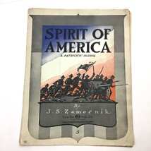 Antique 1917 Spirit of America Sheet Music WW1 Era Soldier Cover JS Zame... - $19.75