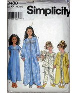 Simplicity 8488 Girls Sizes 7-12 Sleepwear Robe Nightgown Pajamas Sewing... - $11.00