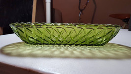 Vintage Indiana Glass Olive Green Celery Relish Dish Bowl Pretzel Pattern - $10.00