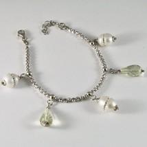 Silber Armband 925 Rhodium mit Quarz Lemon und Perlen Fw mit Kristallen - $93.41