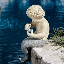 Young Little Sitting Mermaid Garden Statue with Oyster and Pearl - $76.23