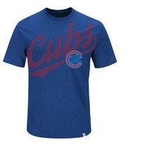 New Mlb Chicago Cubs Majestic Men's Super Script T-Shirt Size L - $5.00