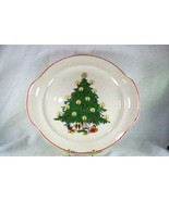 Made In USA 1950's Christmas Tree With Red Trim Double Handled Cake Plat... - $8.18