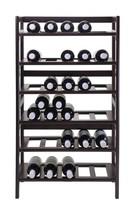 NEW Wine Rack Holds 30 Bottles Floor Standing Wood 6 Tier Shelves Walnut... - $79.18