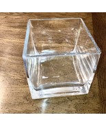 Square Clear Glass Vase Candle Holder 4 in Square  - $23.98