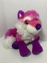 Wild Republic purple pink white plush fox sparkle glitter plastic eyes hair bows - $5.93