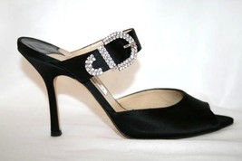 JIMMY CHOO Black Satin Crystals Evening Heels Sandals Shoes 38  8 - $329.00