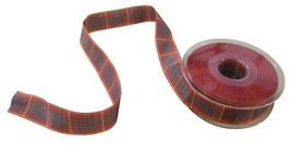 Scottish Tartan Red Green Yellow Reversible Ribbon 25mm 4 Lengths - $4.80+