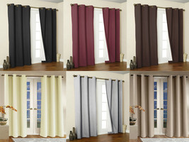 2x Panels/Pair Microfiber Blackout Metal Grommet Curtain Washable 54 x 8... - $24.95